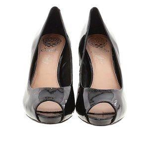 Vince Camuto Womens Black Patent Peep Toe Heel